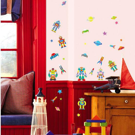 Tc2116 robot wall decal sticker decor boy room nursery for Robot room decor