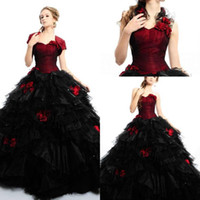 Wholesale 2011 Red and black sweethear organza ball gown quinceanera dress price under cheap prom dress