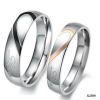 Wholesale engagement rings stainless steel couple ring engraved quot real love quot on it wedding jewelry