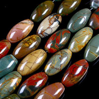 Wholesale Multicolor Picasso Jasper Rice Gem Beads Strand x13mm