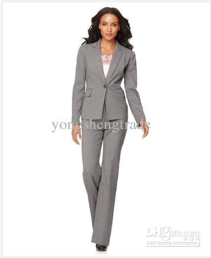 Lady Suit Brand Suit Light Gray Women Suit Long Sleeve Jacket ...