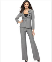 Wholesale Ladies Suit Fashionable Suit Designer Suit Long Sleeve Ruffle Collar Jacket Pants Light Gray Suit