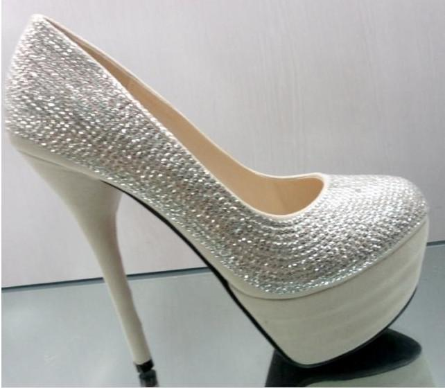 2011 Silver Wedding Shoes 14cm High Heels Shoes Party Shoes For ...