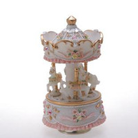Wholesale Exquisite Mini Carousel Music Box Whirligig Merry Go Round Wonderful Christmas Gift