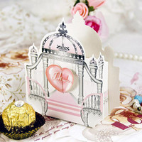 Wholesale Castle Candy - 50 Pcs Pink Castle Candy Box Wedding Favor Christmas Gift Boxes