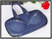 Wholesale Bra Storage Box Portable Woman Travel Underwear Bra Bag Blue jean Apply to A B C D cup Bra EVA