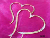 Wholesale Low Price High Quanlity partial Swarovski quot Double Heart Gold Monogram Wedding Cake Topper