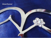 Wholesale Hot Sale partial swarovski quot silver Metal Double Heart Monogram Wedding Cake Topper
