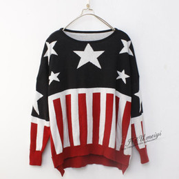 Wholesale American flag sweater Japanese VIVI magazine lena New American flag printed fashion girl sweater
