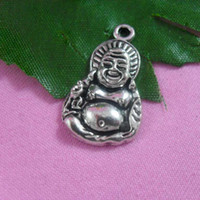 Traditional Charm ancient buddha - Whole sale Ancient silver plating Maitreya Buddha charms CP10042 x16mm