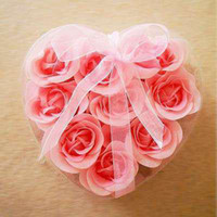 Wholesale 10 Boxes Pink Rose Petals Soap in Heart Shaped Box Gift Appliance Mix Color box choose color