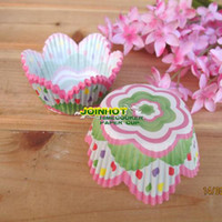 Wholesale 500 Green flower petal Cupcake liners muffin cup baking cup