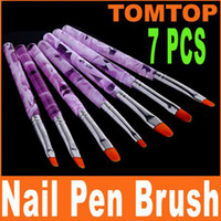 Brush Cleaners & Accessories 7 Pcs Plastic Brand New 7Pcs set Acrylic Nail Art Brush Pen Set UV Gel Design H4573 Free Shipping