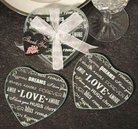 Wholesale wedding favor Heart shape Love glass coaster set