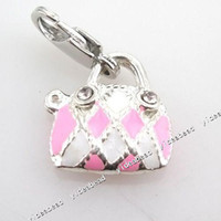Wholesale 16x NEW Handbag Shape Enamel Charms Pendants Beads With Lobster Clasp Fit jewellery Making
