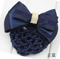 Wholesale Vocation bowknot barrette hairpin alligator clip Snood Net hair clip with artificial diamonds