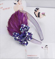 Wholesale Fashion bowknot Feather hoop feathers hair ornaments bowknot Christmas gifts