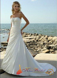Wholesale Best Selling White Bridal Gown A line Strapless Beads Ruffle Floor Length Satin Wedding Dresses Gown