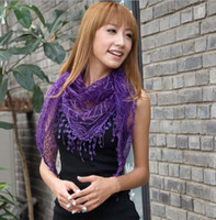 Wholesale Charming Bud silk macrame triangle scarf shawls For Women Spring amp Autumn per