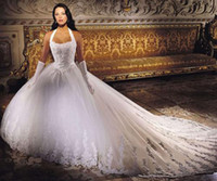Wholesale No Risk Sexy Lace White Halter Embroidery A Line Wedding Dresses Bridal Ball Gowns Dress A61