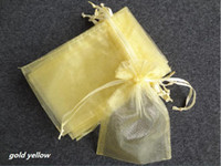 Wholesale 100PCS x15cm Gold Yellow Sheer Organza Wedding Favour Gift Bag high quanlity hot sell