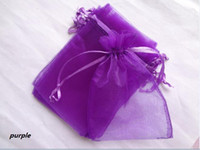 Wholesale Wedding Party Favor x15cm PURPLE Sheer Organza Gift Bag and retail