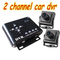 al por mayor sony canales dvr de seguridad-Dvr coche de 2 canales con Sony ccd cámaras de taxi sistema de vigilancia del sistema de seguridad para vehículos