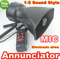 Wholesale W Annunciator in1 Tone electronic siren with MIC Car Loudspeaker Alarm