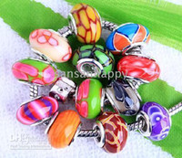 Wholesale Polymer Clay Bead silver core Fits biagi Chamilia italian bead bracelet mix styles pc