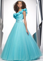 Ball Gown Ruffle Organza Formal aqua full-length ruched asymmetrical neckline tulle satin A-line evening dress,prom dresses