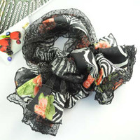 Wholesale lady s scarf lace knitting pritting flower women s scarves lady s accessories NL E