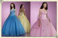 Wholesale Charming V neck Halter lace Hem Edge Full Length Ball Gown Quinceanera Dresses Party Gowns DGh