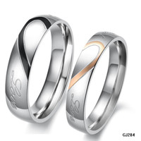 Wholesale STAINLESS STEEL RING MM MM WHITE LOVE HEART engravable COUPLES RINGS USA SIZES N284