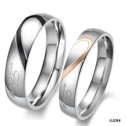 Wholesale STAINLESS STEEL RING MM MM WHITE LOVE HEART engravable COUPLES RINGS USA SIZES for female for male N284
