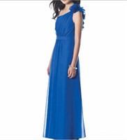 ankle length dresses - 2012 Sheath Handflower One shoulder Pleated Bodice Ankle Length Chiffon Bridesmaid Gown Dress JR
