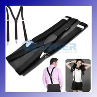 Wholesale Y back Suspenders Clip on Adjustable Unisex Pants Y back Suspender Braces Black Elastic