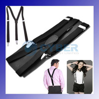Wholesale Y back Suspenders Clip on Adjustable Unisex Pants Y back Suspender Braces Black Elastic
