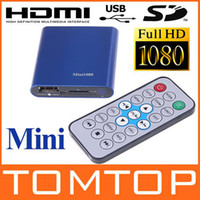 Wholesale 1080P HD Mini media player with Remote Control HDMI Output Support USB SD MKV RM RMVB C1076