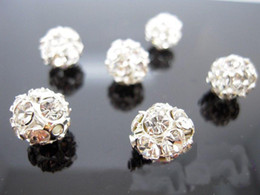 FREE SHIPPING FASHION 10mm Silver Plated White Rhinestone Rondelle Spacers Beads DIY Jewelry Findings HI-Q 100PCS