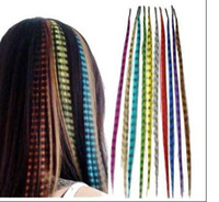 Wholesale 16 Inch Synthetic Grizzly Rooster Feather Hair Extension Feathers Extensions strands beads