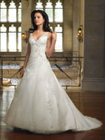 Wholesale 2012 Chelsea Organza applique Beaded A line V neckline wedding dress straps bridal gown
