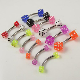 Wholesale 100pcs g Stainlessl Steel eyebrow ring dice cheap promotion body piercing jewelry