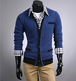 Wholesale Men s Sweater Cardigans Knitwear V neck Slim Casual Sweater D03