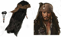 Wholesale Pirates Caribbean Jack Sparrow Costume Accessories Wigs Beards Sets