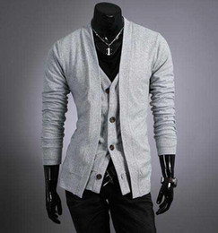 Wholesale Men s Sweater Cardigans Knitwear V neck Slim Casual Sweater D04