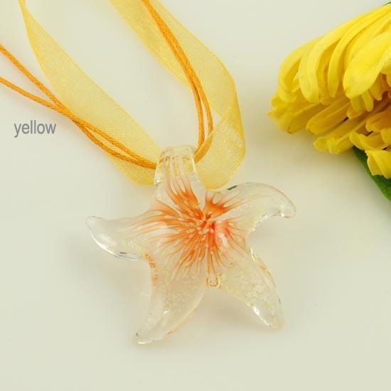 Luminous starfish Italian venetian lampwork blown murano handmade glass pendants for necklaces cheap fashion jewelry Mup075
