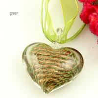 líneas del corazón italianos del brillo de vidrio soplado de Murano hechos a mano colgantes Italia venecianas para collares joyas de porcelana barata de joyería de moda Mup079