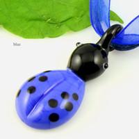 Ladybug colgantes de cristal de murano murano soplado artesanal venecianas italianos para collares barato de China joyería Mup089