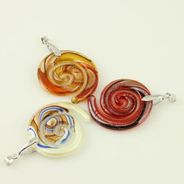 Swirled Italian venetian lampwork blown murano glass pendants for necklaces jewelry