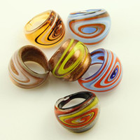 Wholesale Scroll Italian venetian lampwork blown murano glass finger rings jewelry jewellery Mur007 cheap china fashion jewelry
